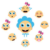 Baby face icons Stock Images