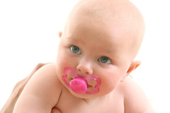 Baby face over white Royalty Free Stock Images
