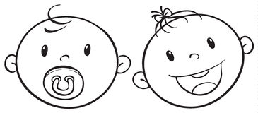 A baby faces sketch Royalty Free Stock Image