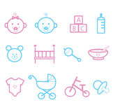 Baby faces and toys Royalty Free Stock Images