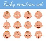 Baby facial expression. Isolated icons on white background. Cute color vector illustration of boy baby showing different emotions smiling, sad, surprised stock illustration