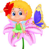 Baby fairy elf sitting on flower Royalty Free Stock Photography
