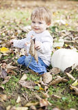 Baby fall portrait Royalty Free Stock Images