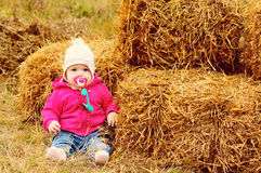 Baby in fall time Stock Image
