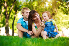 Baby with family on a green lawn in park Royalty Free Stock Photos