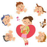 Baby and family stock illustration