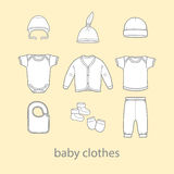 Baby fashion clothing, fashion, vector, shirt, illustration, design, wear, Stock Image
