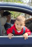 Baby and father in a car Royalty Free Stock Photography