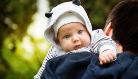 Baby and father on nature Stock Photography