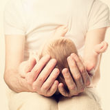 Baby on father's hands royalty free stock image