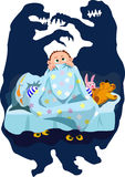 Baby fear. Child is afraid of the dark. He seems that the monster lurking under the bed. Illustration does not contain transparency, blending modes and gradient stock illustration