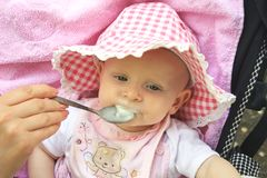 Baby is fed from a spoon Stock Image