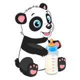 Baby Feed Theme. Cute Baby Panda With Feeding Bottle. Cute Baby Panda With Feeding Bottle Cartoon Vector Character. Panda Bear Costume. Baby Feed Theme royalty free illustration