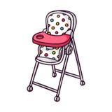 Baby feeding chair, bright vector children illustration  Royalty Free Stock Photo