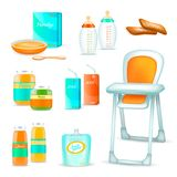 Baby Feeding 3D Set. Baby food realistic 3d set of isolated childhood nutrition icons and high chair for feeding child vector illustration Stock Photography