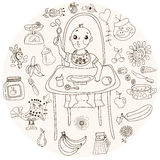 Baby feeding, doodle illustration Royalty Free Stock Photography