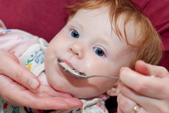 Baby feeding with spoon Stock Images