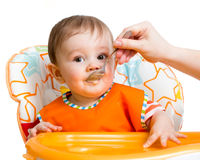 Baby feeding with a spoon Royalty Free Stock Photos