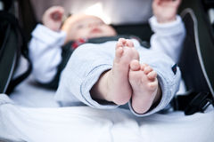 Baby feet. Image showing the tiny feet of a four month old baby royalty free stock images