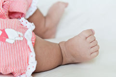 Baby feet. The feet of a baby on white background Stock Photos
