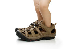 Baby feet in big male shoes, isolated Stock Image