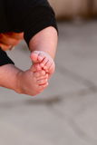Baby feet. Focus on baby toes as baby is being held Stock Image