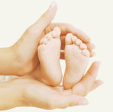 Baby feet in hands mother Stock Photography