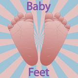 Baby feet. Illustration of baby feet on a colorful background Royalty Free Stock Images
