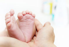 Baby Feet in Mother Hands. New Born Kid Foot Royalty Free Stock Image