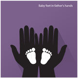 Baby feet in mother's hands. Vector illustration Stock Images