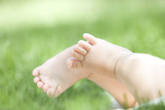 Baby feet. A pair of baby feet on grass outdoor Royalty Free Stock Photo