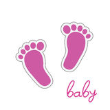 Baby feet pink vector. Illustration Stock Photos