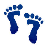 Baby feet print. With paint on white background Stock Images