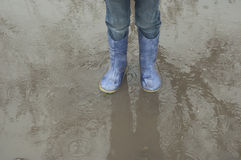 Baby feet in a puddle. In rubber boots in the rain Stock Images