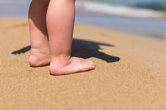 Baby feet walking on sand beach Stock Photos