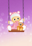 Baby female on swing Royalty Free Stock Images
