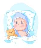 Baby fick sjuk Arkivbild