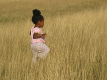 Baby in fields. Baby running through tall grasslands Stock Photos