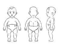 Baby figure. Front, side and back view. Beautiful body boy, character child, vector illustration Royalty Free Stock Photography