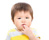 Baby with finger suck into mouth. Isolated on white Royalty Free Stock Images
