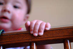 Baby Fingers. Little baby fingers holding the side of the crib. Very shallow dept of field, with the baby's face out of focus Royalty Free Stock Images
