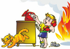 Baby & fire. Baby boy student calls phone dressing table bedside table cat fire flame smoke Royalty Free Stock Image
