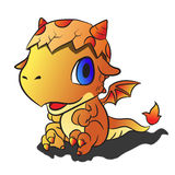 Baby fire dragon. This is a cute baby fire dragon with fire on tail Royalty Free Stock Photography