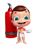 Baby with Fire extinguisher. 3D Render of baby with Fire extinguisher Stock Image