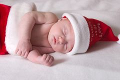 Baby first Christmas. Infant baby celebrating first christmas Royalty Free Stock Photography