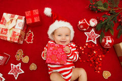 Baby first christmas. Stock Photos