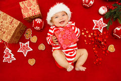 Baby first christmas. Royalty Free Stock Photography