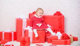 Baby first christmas once in lifetime event. Family holiday. Little baby girl play near pile of gift boxes. Gifts for. Child first christmas. Celebrate first stock photos
