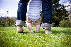 Baby first steps. Young baby talking his first steps in the garden with the help of his dad royalty free stock photos