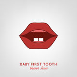 Baby First Teeth. Vector illustration in pink and red colours on a light grey background. Medical and healthcare concept Royalty Free Stock Image